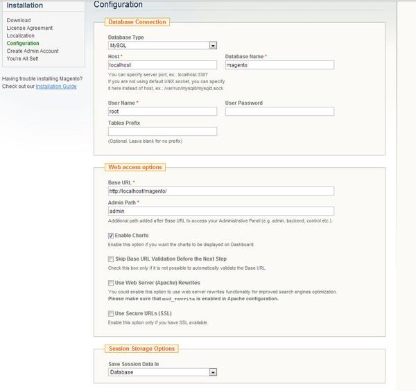 安装Magento配置页面