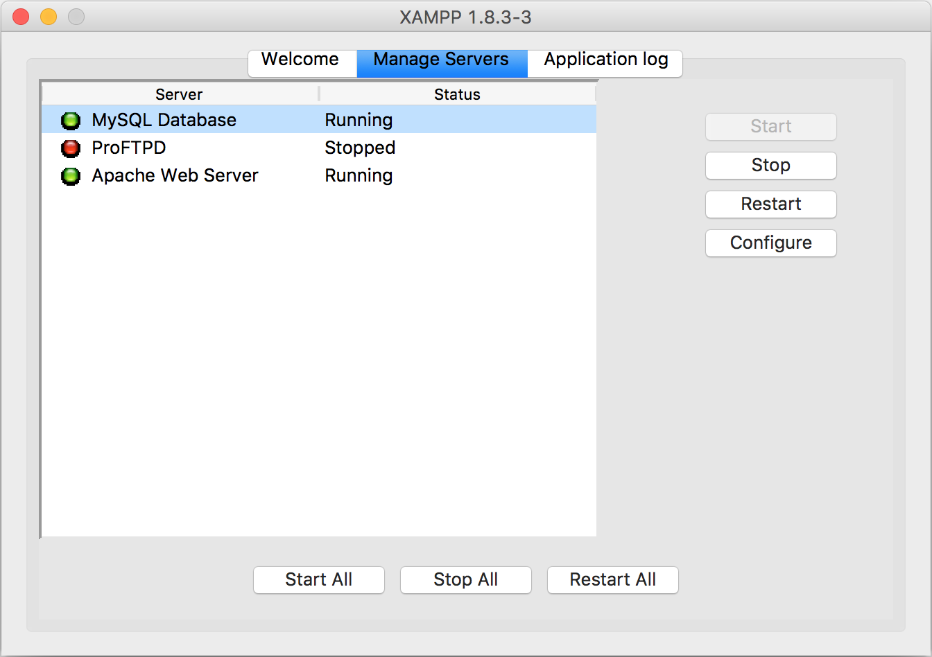 Mac上Xampp的程序界面