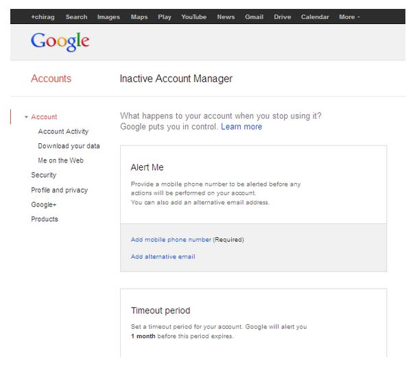 闲置账户管理器设置页面