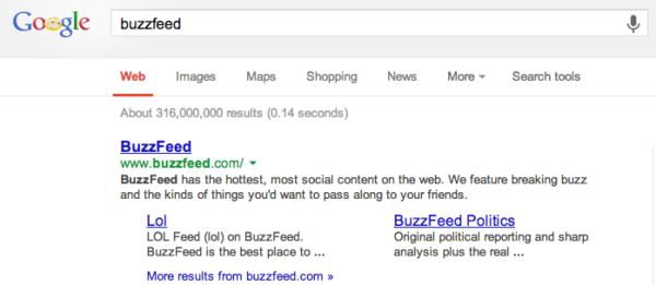 在Google搜索BuzzFeed的结果