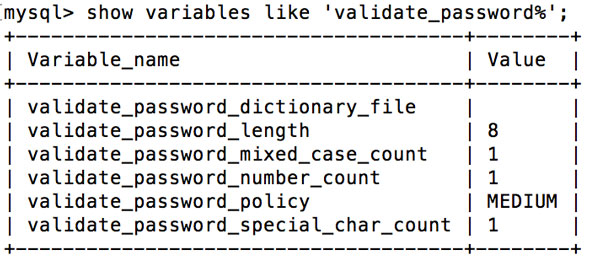 MySQL密码验证