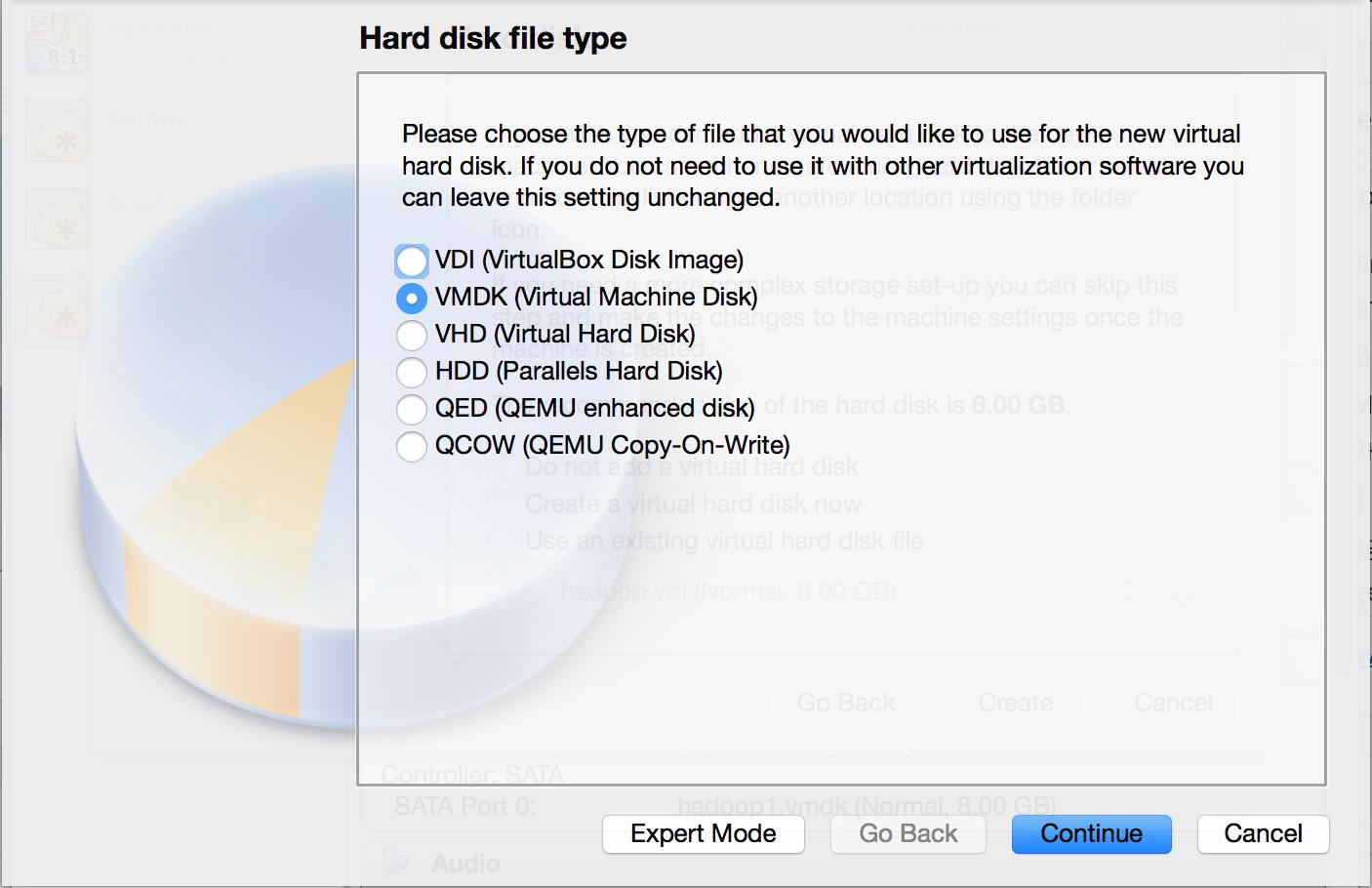 VirtualBox选择虚拟硬盘类型