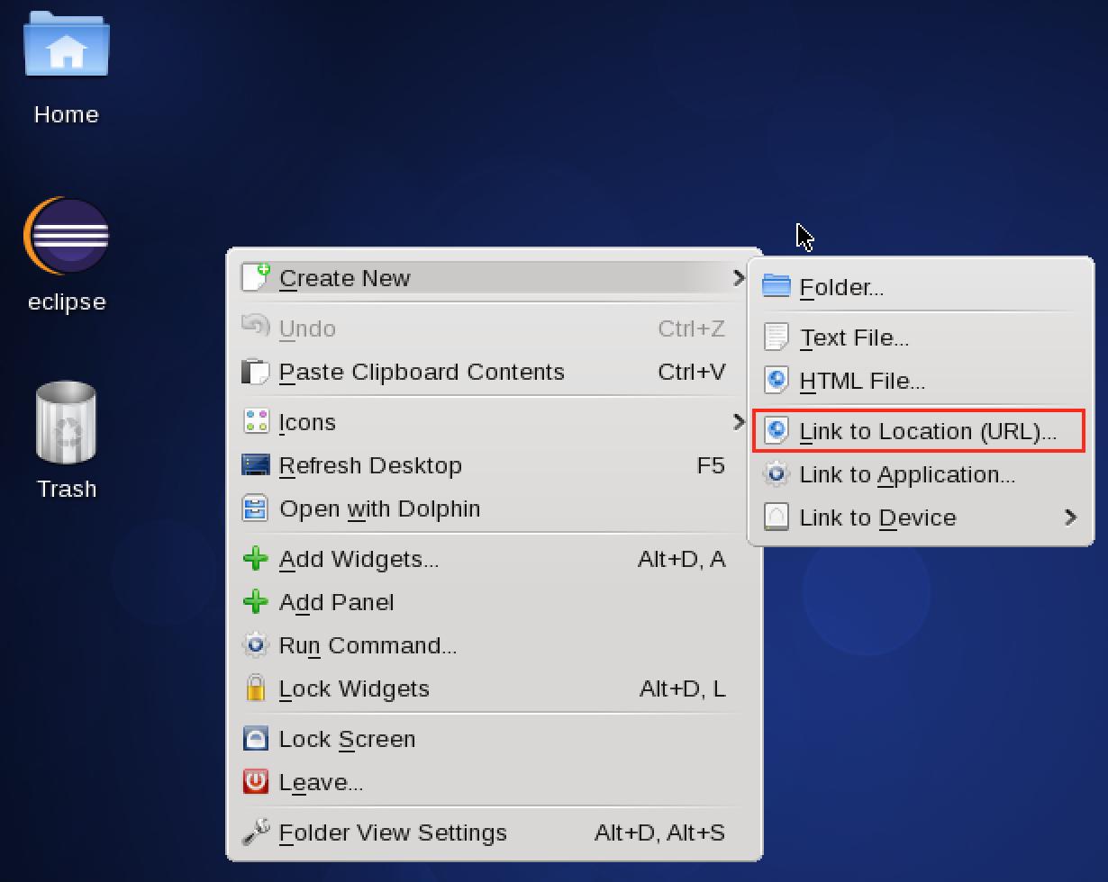 Linux图形界面添加Eclipse快捷方式