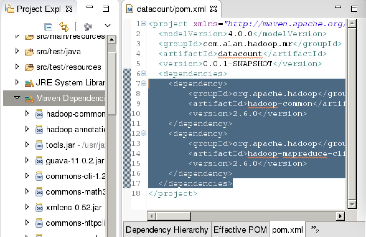 配置pom.xml文件导入依赖包