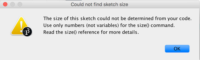The size of this sketch could not be determined from your code.....