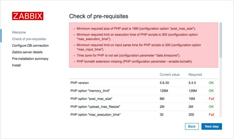 Zabbix安装检测页面