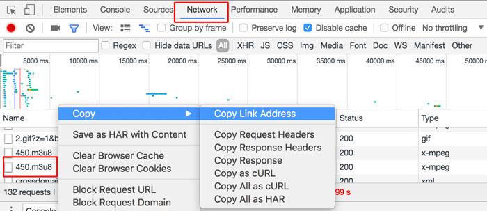 Chrome浏览器中通过Network找到.m3u8文件