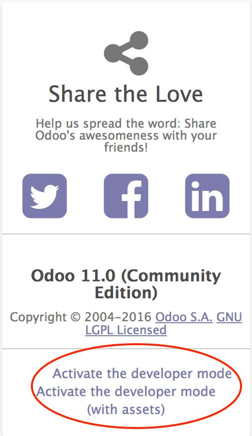 Odoo激活开发者模式