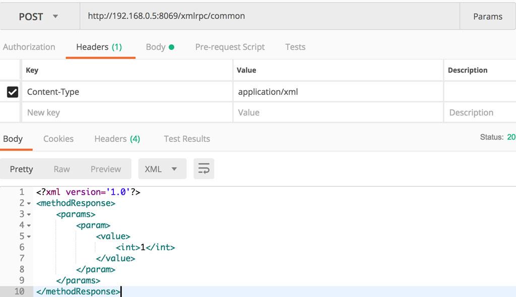Postman 测试 XML RPC 连接