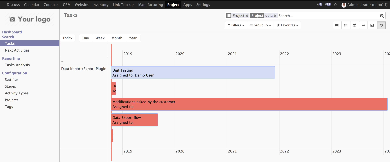 Odoo 11 甘特图(Gantt)替代方案-Web timeline