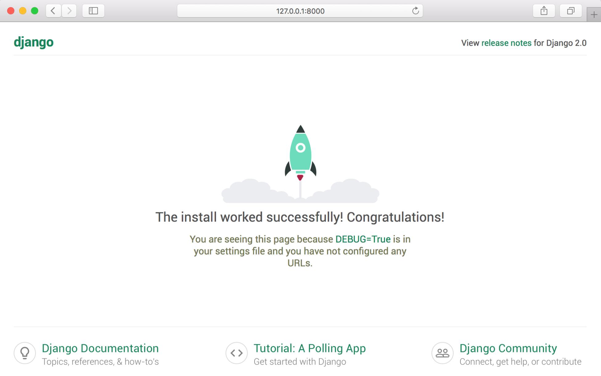 Django 2安装成功页面