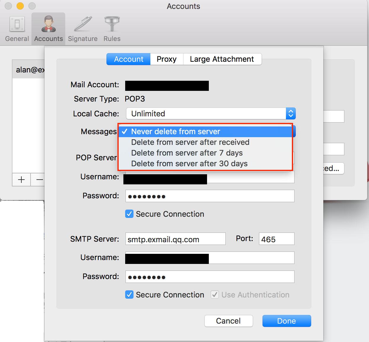 Foxmail配置自动清除服务器资源